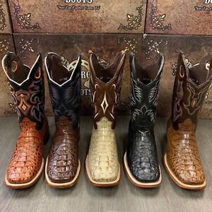 MENS RODEO COWBOY ALLIGATOR NECK BOOTS GENUINE LEATHER WESTERN SQUARE TOE $99.99