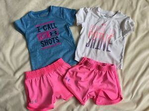 Toddler Girl Under Armour Outfit Lot Size 3T Pink & White Shirt Shorts