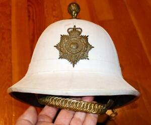 Vintage Post WWII British Royal Marines Tropical Pith Helmet Military Hat !