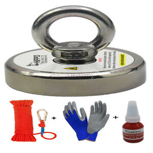 Fishing Magnet Kit Upto 2400 Lbs Pull Force Rope Carabiner Threadlocker Glove $25.99