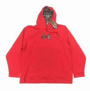 NEW Under Armour Caliber Pullover Storm1 Hoodie Red Camouflage Camo Mens Sz 3XL