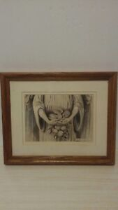 Anne Geddes Framed Matted Lithograph quot;stone angelquot; $36.35