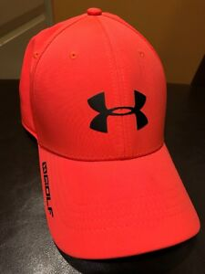 UNDER ARMOUR MENS Golf hat cap MDLG stretch fit heat gear Polyester Blend Pink