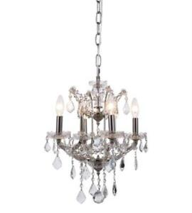 Chandeliers 4 Light With Clear Crystal Royal Cut Polished Nickel 13in 160 Watts