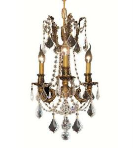 Pendants Porch 3 Light With Clear Crystal Royal Cut French Gold 13 in 180 Watts