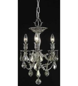 Flush Mount 3 Light With Golden Teak (Smoky) Crystal Royal Cut Pewter 13in 180W