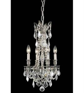 Pendants Porch 4 Light With Clear Crystal Royal Cut Pewter size 13 in 240 Watts