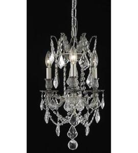 Pendants Porch 3 Light With Clear Crystal Elegant Cut Pewter size 13in 180 Watt