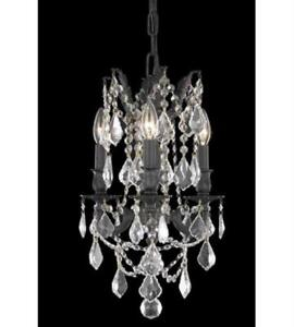 Pendants Porch 3 Light With Clear Crystal Royal Cut Dark Bronze 13 in 180 Watts