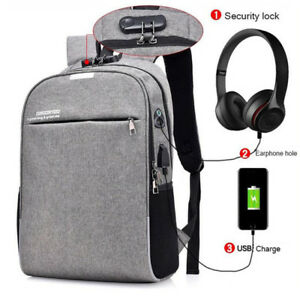Fashion USB Charge Men#x27;s Backpack Anti theft 14 15quot;Laptop Waterproof Backpacks