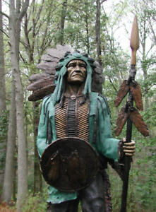 BRONZE INDIAN CHIEF Lifesize Warrior ART SCULPTURE Cigar SIGN Comanche SALE !!!!