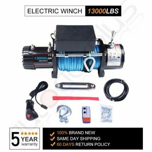 13000lbs 12V Electric Recovery Winch Truck SUV Synthetic Rope Remote Control 4WD