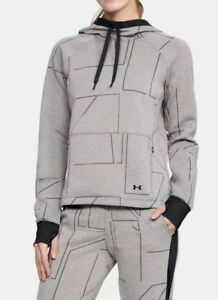 $150 Under Armour SPACER BURN OUT Hoodie Sweatshirt Womens L Charcoal Grey NWT!