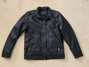Guess Men's Black Faux Leather Racing Moto Motorcycle Jacket Size Medium