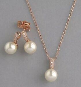 Genuine Swarovski Pearl Jewelry Set~Necklace Stud Earrings~Rose Gold Plated Set