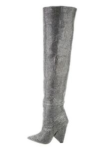 Saint Laurent 2018 Niki Crystal Thigh-High Boots w Tags
