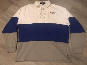 Vintage 90's Large Polo Sport Ralph Lauren Long Sleeve Drawstring Rugby Shirt