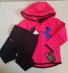 NWT Under Armour Baby Girls Full Zip Hoodie And Legging Pink Size 18M