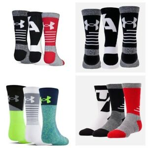Under Armour UA Phenom Crew Socks 3 pairs Boys Youth $11.99