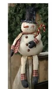 Country CHRIS SNOWMAN DOLL Rustic Primitive Farmhouse Christmas Candy Cane