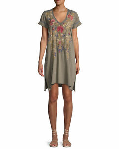 Johnny Was Simona Drape Tunic Dress Cotton Floral Embroidery LARGE L Green New