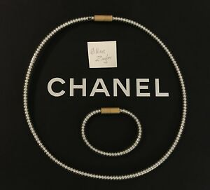 Authentic Rare Vintage Chanel Large Gold Faux Pearl Necklace Bracelet Set