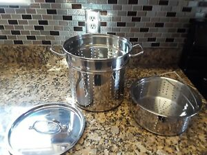 3PC SS  Pasta/Crabs Cooker-LG Steamer with Insert, Lid CHEFS Delight! Heavy duty
