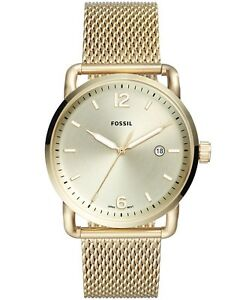 BRAND NEW Fossil Men's Gold Tone Stainless Steel Mesh Bracelet  Watch FS5420