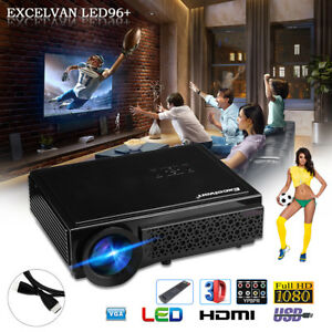 "Excelvan Home Theater Projector 5.8"" LED HD 5000 Lumen 1280*800 Support 1080 USA"
