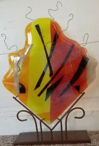Art Glass Hand-blown Fused Sculpture wwire on Metal Stand Huge Abstract