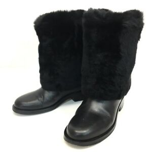 AUTHENTIC CHANEL CC 15B Leather Lapin Fur Semi-Long Boots Black G31196 Size36