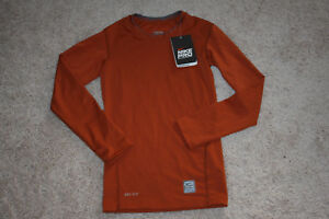 Nike Pro Dry Fit Compression Shirt Top Boys M 10 Rust Color New NWT  b6