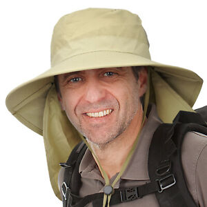 Men's Sun Protection Neck Flap Cover Hat Wide Brim for Outdoor Fishing Hiking