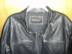 MEN'S GUESS  BLACK FAUX LEATHER MOTORCYCLE JACKET DISTRESSED  XL  PRE-WORN