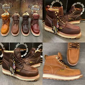 MENS WORK BOOTS MOC SOFT TOE GENUINE LEATHER GOODYEAR WELT MADE BOTAS TRABAJO