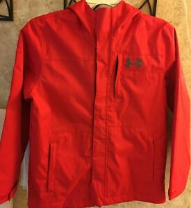 UNDER ARMOUR Boy's RED Full Zip Hoodie Jacket YMD Youth Medium  Cold gear