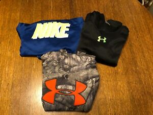 Lot of 3 Boys Nike Under Armour Storm Hoodie Sweatshirt Size Youth Medium Camo