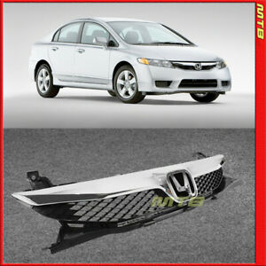 For 09-11 Honda Civic Sedan Front Upper Top Grille Bumper Insert Black Chrome