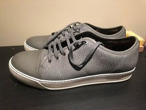 Lanvin Gray Designer Low-Top Leather Sneakers - Men's 10 in Gray