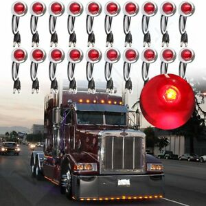20x34'' Red Side Marker Clearance Bullet Light wChrome Bezel for Ford Jeep SUV