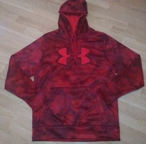 NEW Men's Size MED M Under Armour Storm1 Red & Black Camo Print Big Logo Hoodie