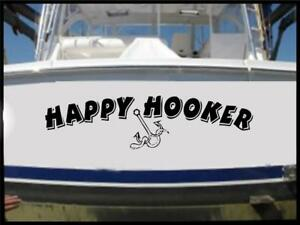 Happy Hooker Vinyl Decal Sticker Bass Boat Name Funny Fish Finder Tracker