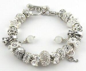 European Charm Bracelet WHITE WEDDING ENGAGEMENT HEART Charms Beads Toggle Clasp