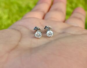 18K White Gold .40tcw Natural Diamond Earrings (Screw Back)