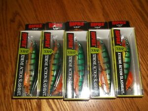RAPALA X-RAP-10's--lot of 5 PERCH COLORED-FISHING LURES-XR10