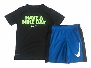 NIKE Toddler Boys' Dri Fit Short Sleeve T-Shirt and Short ObsidianVolt-18months