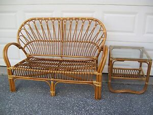 Rattan Franco Albini Inspired Design 2 Piece Love Seat & End Table LOCAL PICK-UP