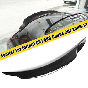 FITS FOR 2008-2013 INFINITI G37 2 DOOR CARBON FIBER HIGH KICK REAR TRUNK SPOILER