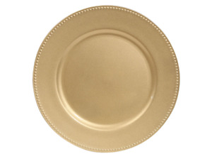 GOLD BEADED CHARGER PLATES 8 16 & 24 PCS.