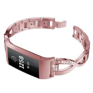 Rose Pink Fitbit Charge 3 Replacement Stainless Steel Rhinestone Wristband New